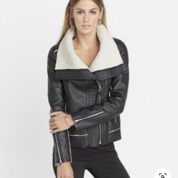 Dynamite faux leather and Sherpa jacket